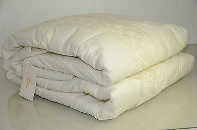 $2780 NEW PRATESI Queen Cut Work Lace IVORY Scalloped Quilt Bedspread Coverlet