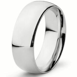 Image Is Loading 8mm Wide Pure Solid 925 Sterling Silver Plain