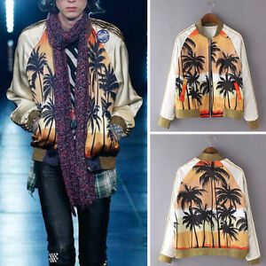9b2f36bc4 Details about 2019 Hawaii Tropical Palm Tree Print Contrast Bomber Jacket  Baseball Outerwear