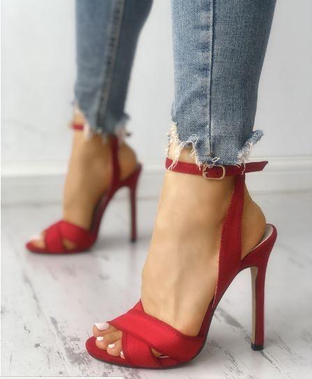Sandales talons aiguilles bottines rouge hauts 12 cm comme cuir élégant 1317