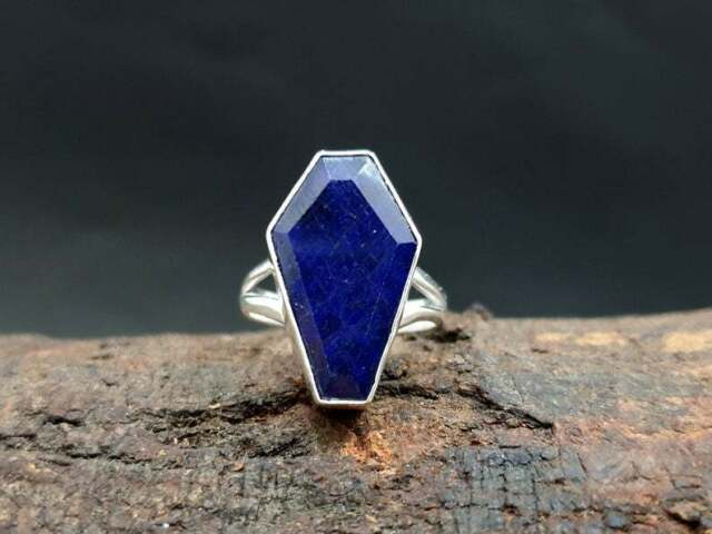 Natural Coffin Shape Blue Sapphire 925 Sterling Silver Artisan Jewelry Ring