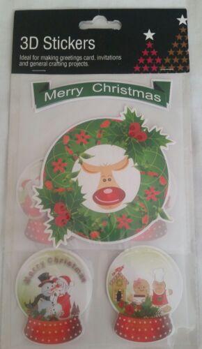 Brillo Diamante impresionantes 3D Navidad Pegatinas Feliz Navidad snowglobe tarjetas craft