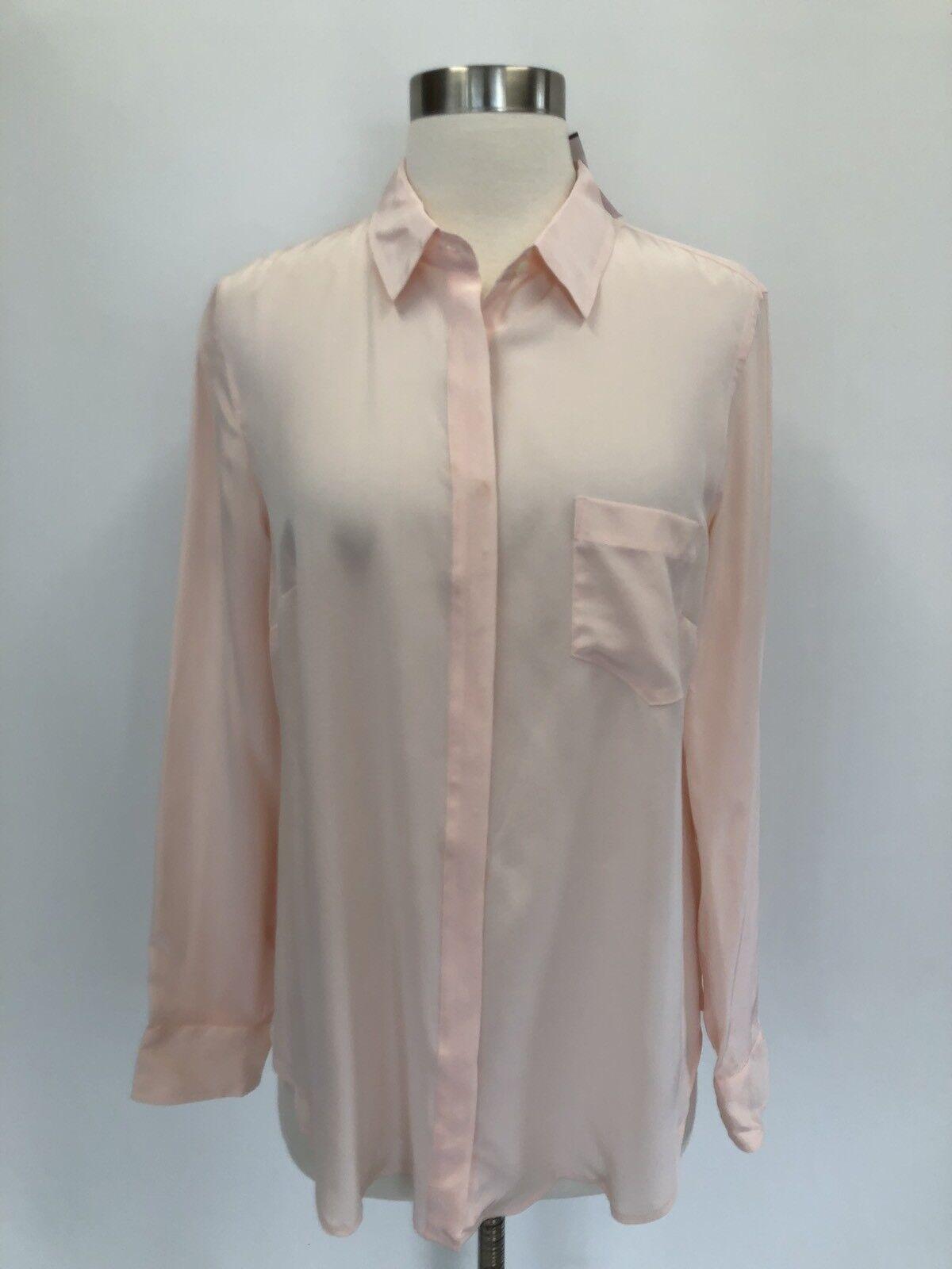 New J.Crew Silk Button Up Shirt Top Blouse Subtle Rosa Größe 8 H6232