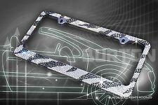 Bling White/Black ZEBRA Designed Crystal License Plate Frame+Caps