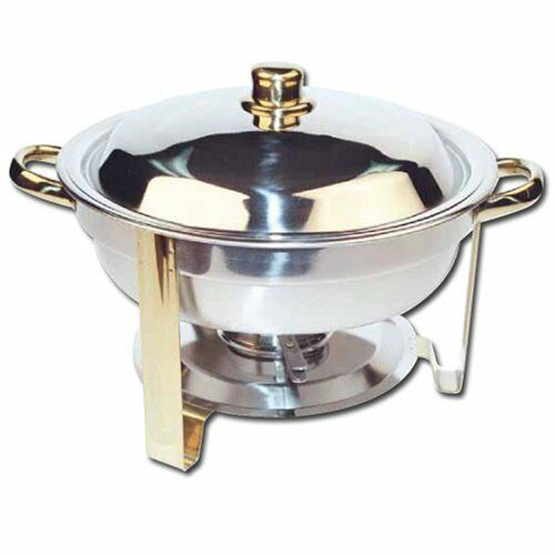 NEW Winware 4 Quart Round Stainless Steel gold Accented Chafer FREE SHIPPING