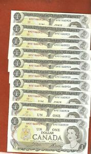 10-1973-Consecutive-Serial-Number-One-Dollar-Bank-Notes-Gem-Uncirculated-E820