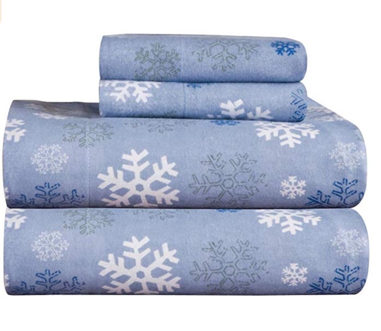 Pointehaven Twin Flannel Sheet Set Snowflakes Dusty bluee 170 GSM   5 oz  NEW