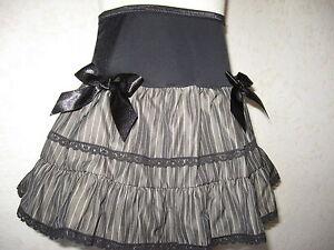 Gothic Pinstripe skirt Girls Black grey lace Gift Rock Metal baby Alternative