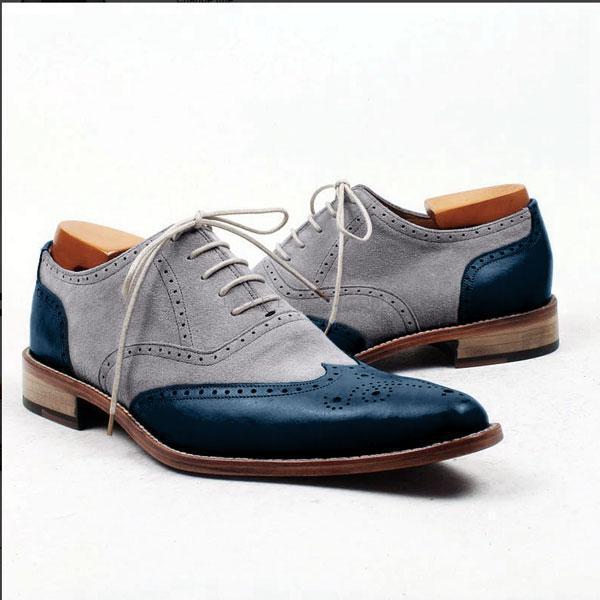 Zapatos De Vestir hecho a Mano Hombres Zapatos Formales Dos Tonos extremo de ala, gris Y Azul Para Hombre