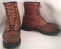 VTG HH Double H Moc Toe Loggers Work Boots Leather Vibram Lug Sole 7 1/2 D