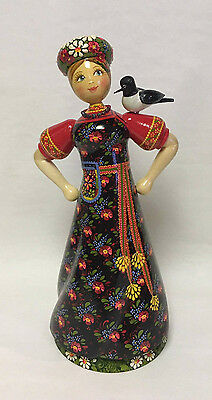 New Russian Matryoshka Hand-Made Linden Wood Doll With a Bird