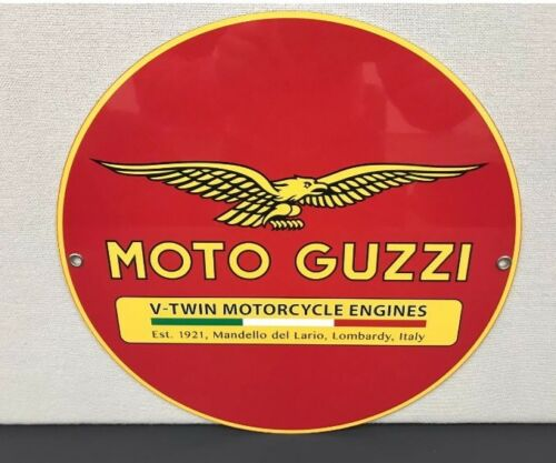 Italian Racing Motorcycle Moto Guzzi Metal Garage Sign Reproduction