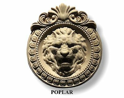 "Hand carved Lion Head Round Plaque / Applique 9-3/4"" x 8-3/4""  and  6-3/4"" x 6"""