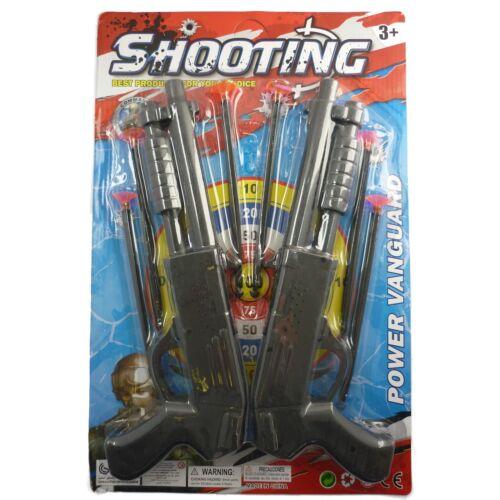 Double Sawed Off Shotgun Dart Shooter Kids Play Toy Set Fancy Dress Accessory
