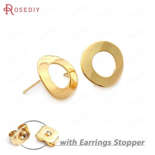 33749 10PCS 18MM 24K Gold Color Brass Glossy Surface Circle Stud Earrings