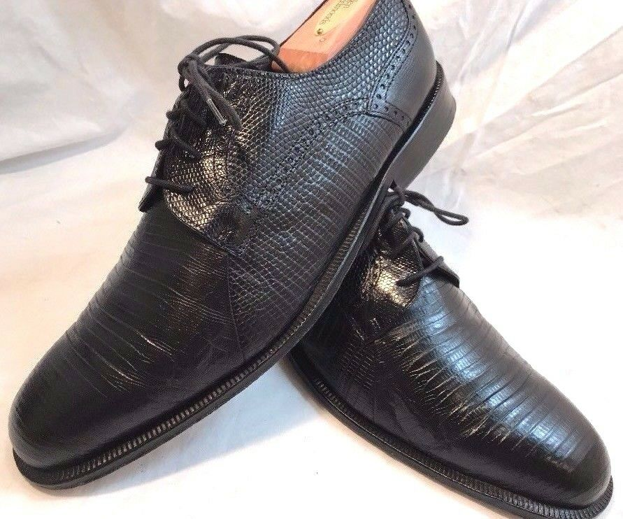 DAVID EDEN HANDCRAFTED LIZARD LEATHER OXFORDS BLACK 10 D EXCELLENT ITALY DESIGN