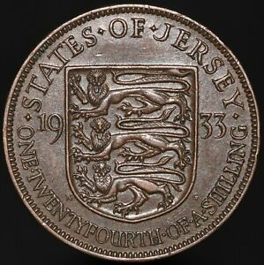 1933-Jersey-George-V-One-Twentyfourth-Of-A-Shilling-Bronze-KM-Coins