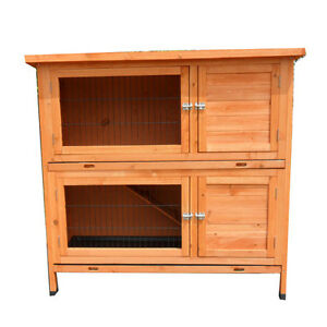 XLarge-120-450-115cm-Double-Story-Rabbit-House-Chook-Hutch-Cage-With-Trays-T045