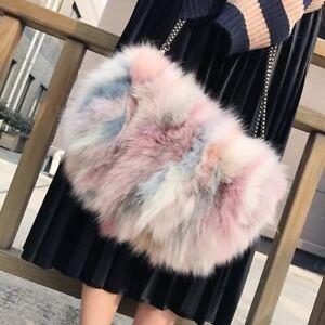 Multi-color Real Fox Fur Purse Clutch Handbag Wallet Phone Pouch Bag ... 568304417971d