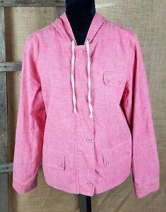 J Jill women M faded denim look zip up hoodie jacket lined