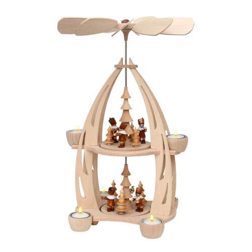 hochwertige Weihnachtspyramide für 6 Teelichte Holz Teelichtpyramide 72 0032