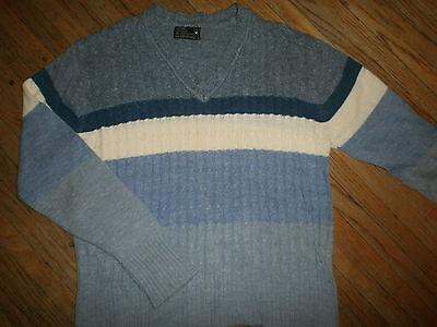 True Vtg Jc Penney Blaue Streifen Pullover Zopfmuster V-ausschnitt Acryl 70er