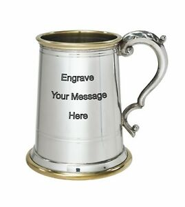 NEW-Personalised-1-Pint-Wortley-Polished-Pewter-Tankard-Any-Message-Engraved