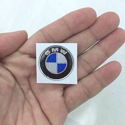 BMW EMBLEM STICKER LOGO DECAL 2.5 X 2.5 CM. RESIN SOFT GLITTER PLASTIC