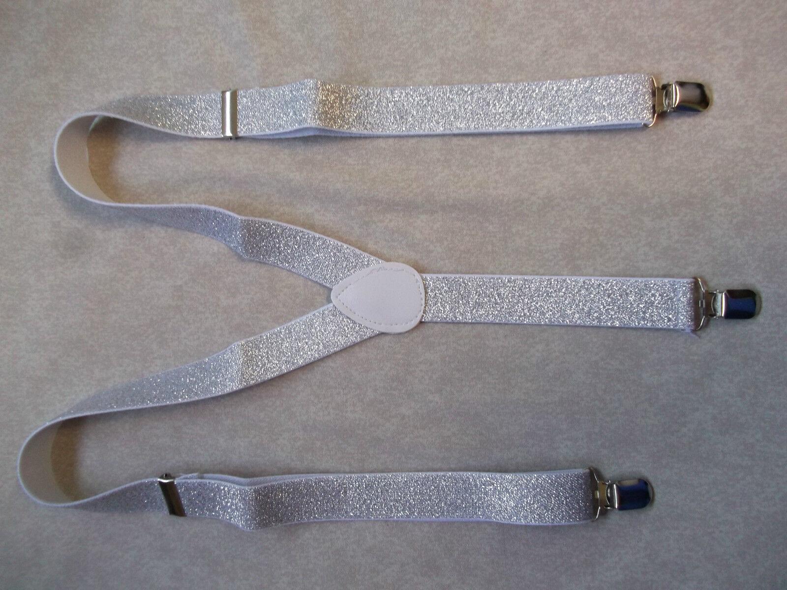 Hosenträger Herren Neu Clip Auf Verstellbar Einheitsgröße Funkelnde Silber Weiß