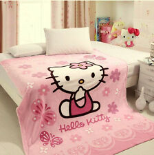 Cute Supersoft Hello Kitty Plush Throw Cover Blanket Bedsheet Pink 1.5m*2m