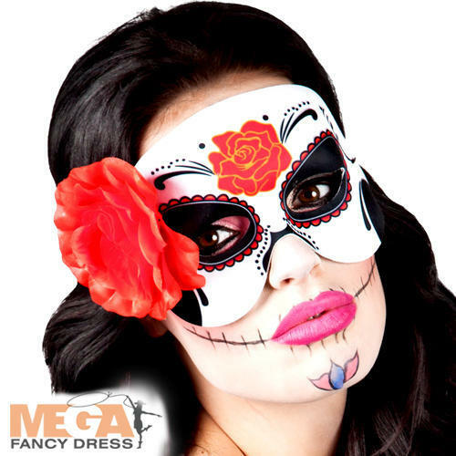 Day of the Dead Eye Mask Fancy Dress Halloween Skull Adult Costume Accessory New