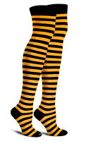 Orange N Black Thigh High Striped Cotton Socks Rave Emo Hot Party Cosplay Giants