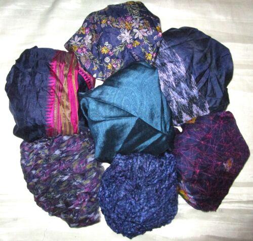 CA LOT PURE SILK Vintage Sari REMNANT Fabric 7 Pcs 1 ft Grey Doll #ABCU5