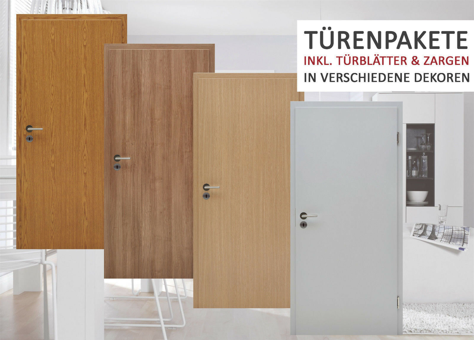 Kuporta CPL Zimmertüren Innentür Grau Eiche Kirsche Tür mit Zarge Zimmertür NEU