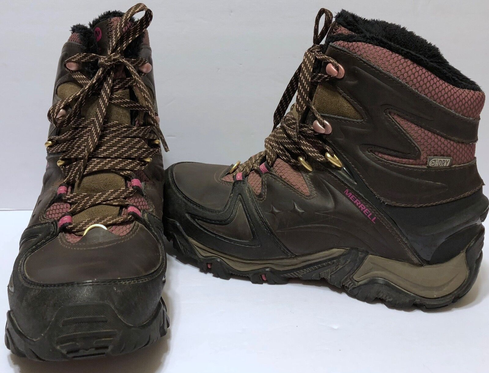 Merrell Pink Brown Select Dry Hiking Boots Sz 8 Active Heat Soles Trail Trekking