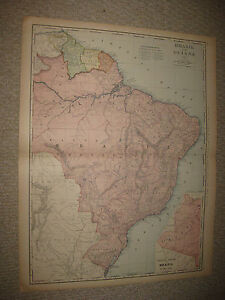 HUGE FOLIO SIZE ANTIQUE 1898 BRAZIL GUYANA SOUTH AMERICA MAP ...