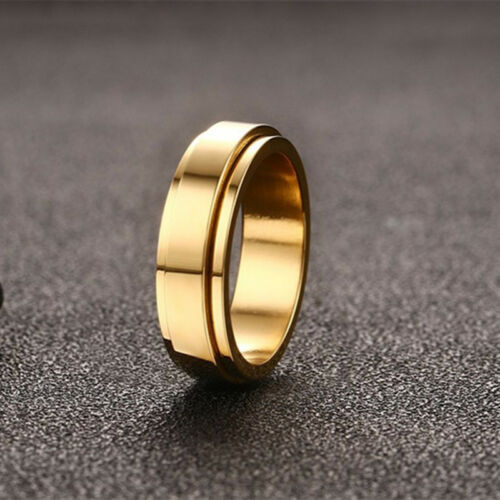 6 mm Plaqué or Spinner Band homme en acier inoxydable Bague de mariage Taille 7//8//9//10//11