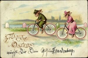 Rare-Dressed-Bunny-Rabbits-on-Bicycles-1902-Antique-Easter-Postcard-German-p66