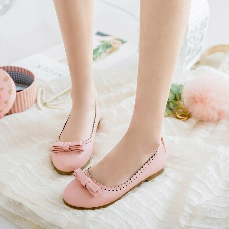 UK Women Girl Round Toe Flat Oxfords Cute Bow Pumps Slip On Ballet Shoes Loafers
