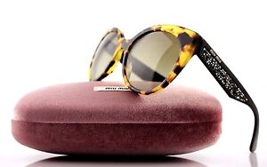 0375c7f84014 RARE Authentic MIU MIU Light Havana Cateye Stardust Sunglasses MU ...