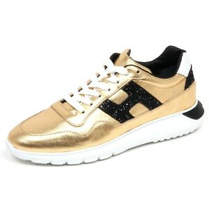 F7022 sneaker donna gold HOGAN H371 INTERACTIVE 3 H glitter shoe woman