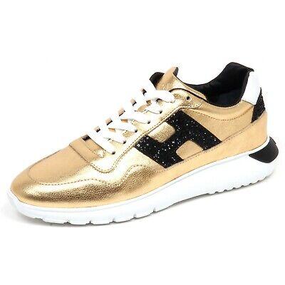 F7022 sneaker donna gold HOGAN H371 INTERACTIVE 3 H glitter shoe woman | eBay