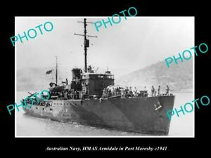 OLD-LARGE-HISTORIC-PHOTO-OF-AUSTRALIAN-NAVY-HMAS-ARMIDALE-AT-PORT-MORESBY-c1941
