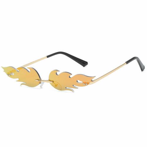 Fire Flame Women Sunglasses Rimless Luxury Eyewear Trending Wave Cat Eye Glasses