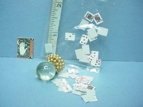 Dollhouse Miniature Crystal Ball Playing Cards Book Cover 1//12th Handcrafted