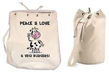 PEACE, LOVE & VEGI BURGERS DUFFLE BAG Vegetarian Vegan College Rucksack Gym