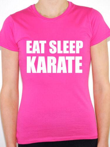 // Nouveauté Amusant T-shirt femme à thème Eat SLEEP Karaté Arts Martiaux