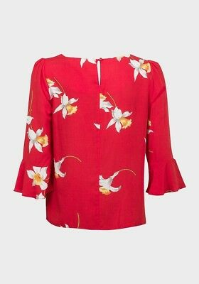 ex Dorothy Perkins Red Floral Daffodil Flute Sleeve Top