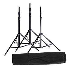 3x 2.8m / 9ft Studio Heavy Duty Light Stand + Carrying Bag Kit for Strobe Light