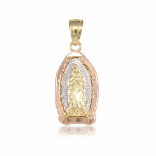 Guadalupe Necklace Charm 10K Solid Yellow White Rose Gold Virgin Mary Pendant